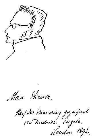 Dibujo de Max Stirner realizado por Friedrich Engels. Su verdadero nombre era Johann Kaspar Schmidt (1806, 1856) Educador y filósofo alemán.