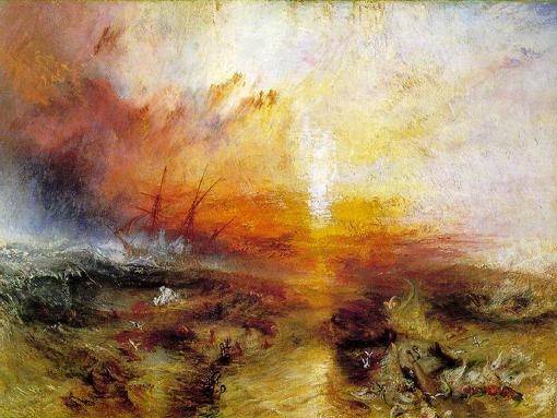 """En """"El barco de esclavos"""" de J.M.W. Turner (1840) se observa que los esclavos moribundos son arrojados por la borda. Museum of Fine Arts. Boston."""
