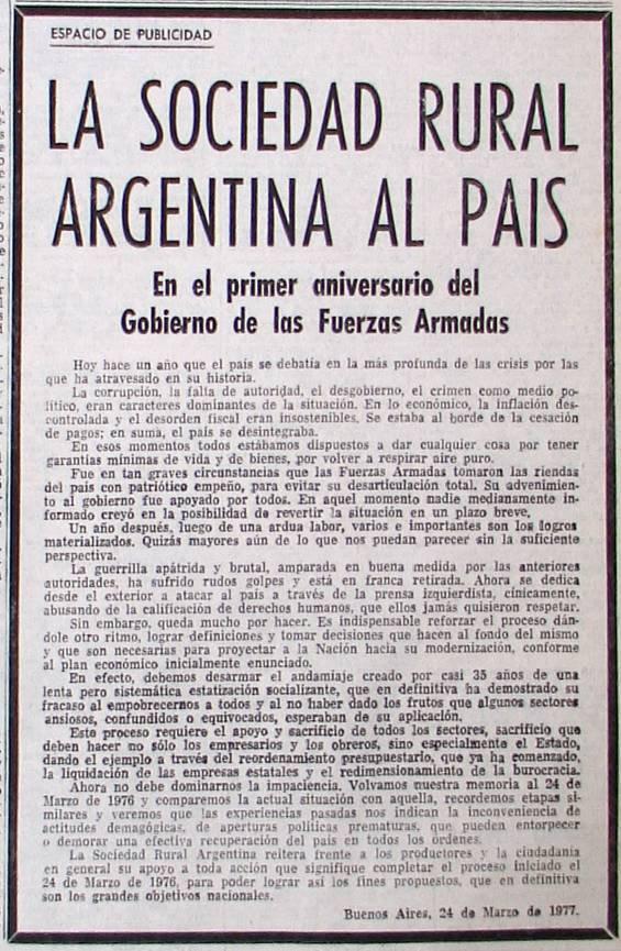 Comunicado de la Sociedad Rural Argentina apoyando a la Dictadura. 1977